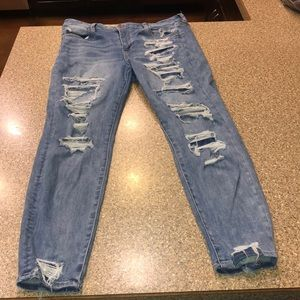 American Eagle high rise distressed jeans